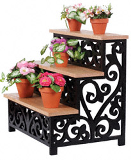 Scrolled Stair step Plant Display Project Pattern