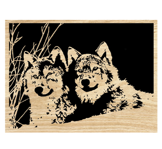Double Trouble (Wolf Pair) Scrolled Art Patterns