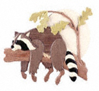 Lazy Raccoon Intarsia Scroll Saw Patten