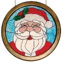 Large Painted Glass Santa
