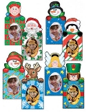 Set of Eight Magnetic Holiday Photo Ornaments