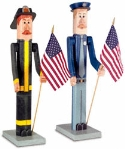 Policeman & Fireman Pole People