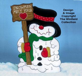 Heart Melting Snowman Wood Pattern