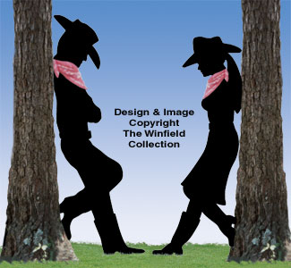 Leaning Cowboy and Cowgirl Shadow Set