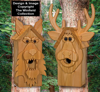 Cedar Deer and Wolf Birdhouse Plans