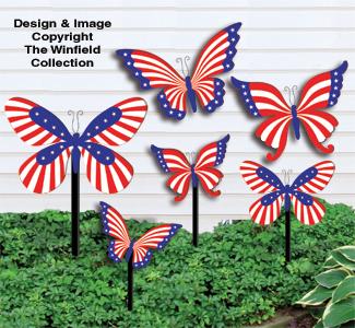 Medium & Small Patriotic Bufferflies Pattern