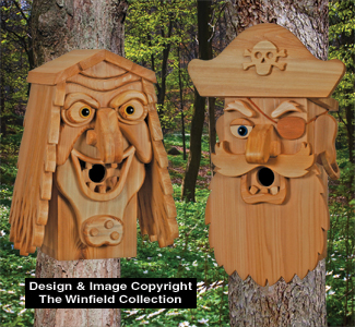 Birdhouse Wood Patterns - Cedar Pirate & Sea Hag Birdhouse Plans