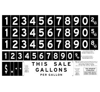 Other Parts Kits - Gas Pump Decal Sheet