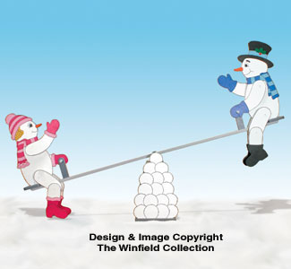 Teetering Snow Couple and Teeter Totter Pattern Set