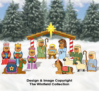 Gingerbread Complete Nativity Pattern