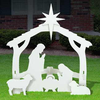 All-Weather Outdoor Medium White Nativity Scene