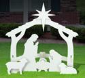 All-Weather Outdoor Medium White Nativity Scene
