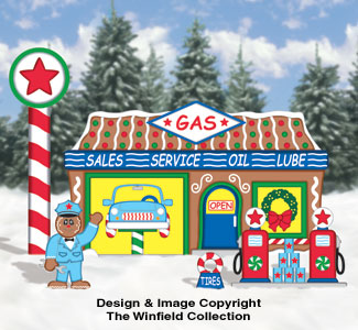 Gingerbread Gas Station Woodcraft Pattern