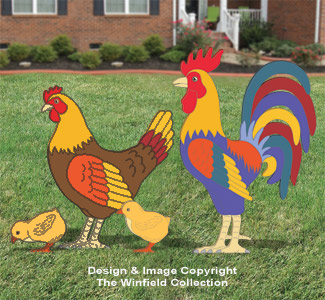 Large Rooster, Hen & Chicks Pattern Set