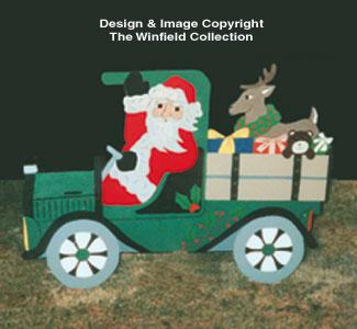 Santa In Old Truck Woodcraft Pattern
