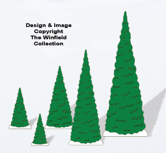 Christmas Village Evergreen Trees Color Poster