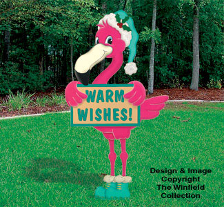Holiday signs warm wishes flamingo woodcraft pattern for Christmas yard signs patterns