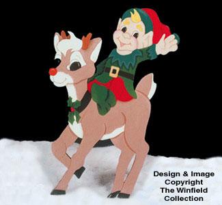 Elf Riding Reindeer  Woodcraft Pattern