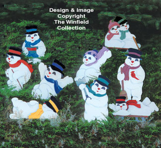 Playful Snowmen Woodcraft Pattern