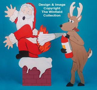 Flaming Santa Woodcraft Pattern
