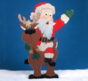 Santa Riding Reindeer Woodcraft Pattern