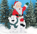 Santa Riding Polar Bear Woodcraft Pattern