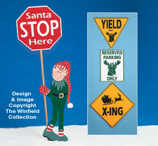 Holiday Traffic Signs Wood Pattern