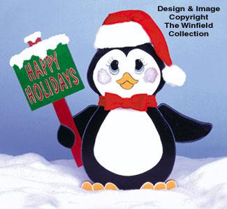 Happy Holidays Penguin Woodcraft Pattern