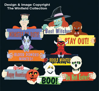 Halloween Signs and Greetings Patterns