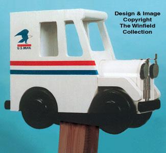 Postal Truck Mailbox Wood Pattern