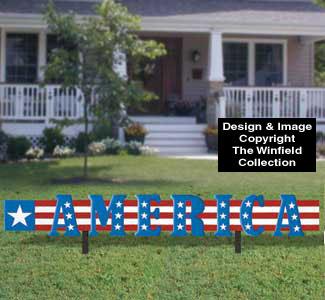 America Yard Sign Woodcraft Pattern