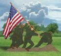 Iwo Jima Flag Holder Wood Pattern