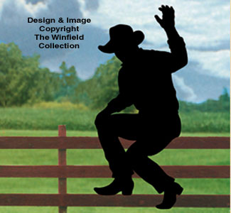 Waving Cowboy Fence Shadow Wood Pattern