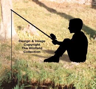 Fishing Kid Shadow Woodcrafting Pattern