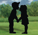 Kissing Kids Yard Shadow Wood Pattern