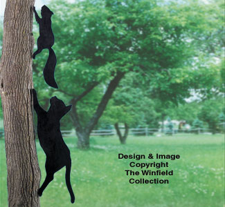 Cat Chasing Squirrel Shadow Wood Pattern