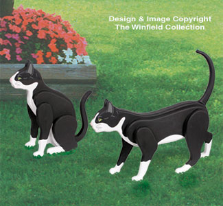 3D Life-Size Tuxedo Cats Woodcrafting Pattern