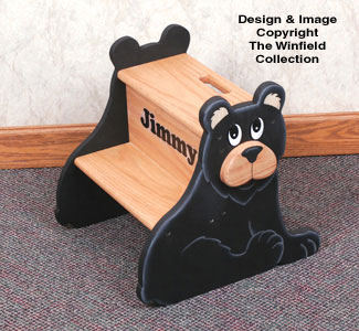 Black Bear Step Stool Wood Pattern