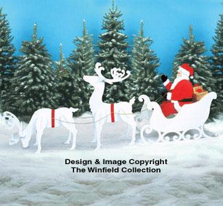Large Santa, Sleigh & Reindeer Pattern Set