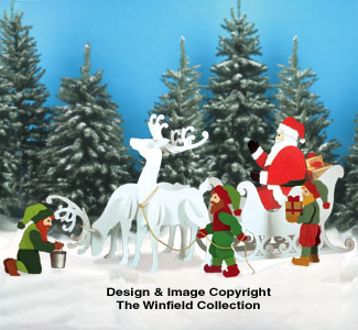 Sleigh, Deer, Santa & Elves Pattern Combo