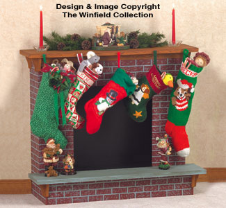 Christmas Fireplace Woodcraft Pattern