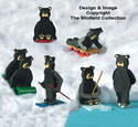 Miniature Black Bears Wood Pattern