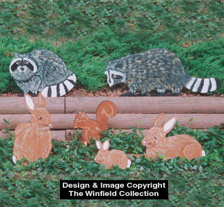Rabbits, Raccoons & Squirrel Wood Pattern