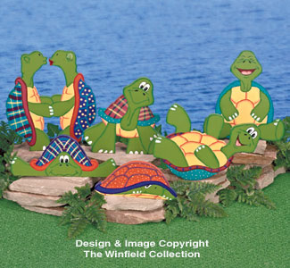 Goofy Garden Turtles Wood Pattern