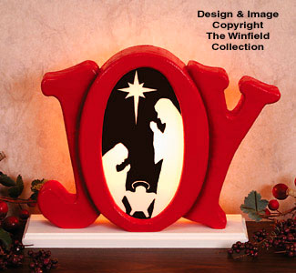 Indoor Glowing Joy Nativity Wood Pattern