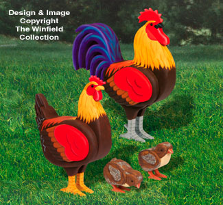 3D Life-Size Chicken Wood Patterns