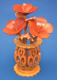 Miniature Hibiscus & Vase Scroll Saw Pattern