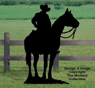 Cowboy on Horse Shadow Woodcraft Pattern