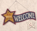 Red, White & Blue Welcome Sign Wood Pattern