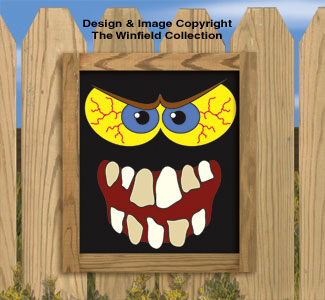Scary Monster Faces Woodcraft Pattern